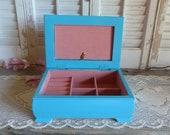 Vintage Turquoise Blue Upcycled Jewelry Box Necklace Storage Box Keepsake Box Cottage Chic