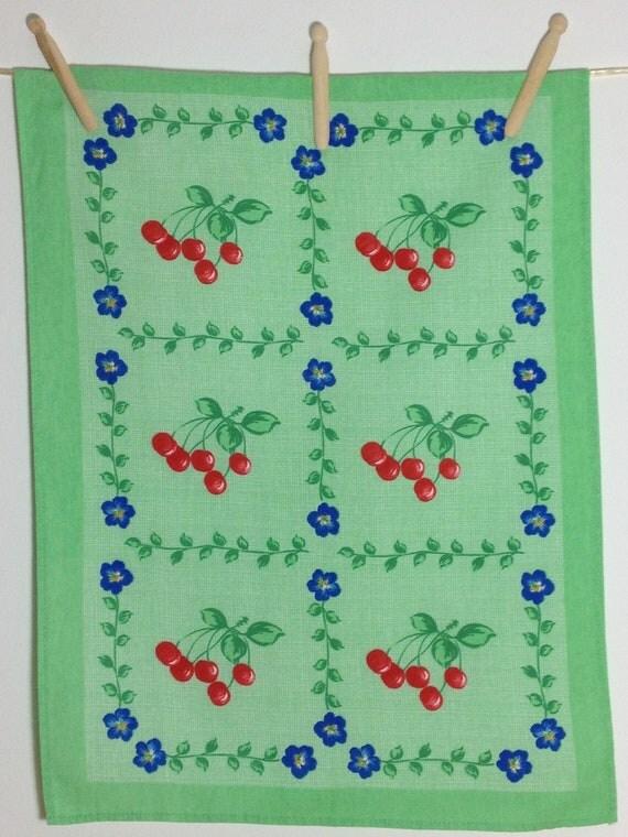 Vintage French Tea Towel, Dish Towel  Cherry Design, Green