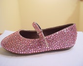 Hand Made Baby or Kids Wedding Flower Girl Pink or Light Pink Rhinestone Flats Shoes Sz. 6 & UP