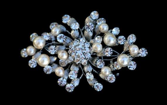 Corison Swarovski crystal and pearl elegant bridal Brooch , Barrette or hair comb
