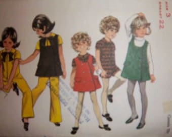 Vintage 1970'S Butterick 5502 Girl's Jumper Jumpsuit sz 3 Used  4 Views