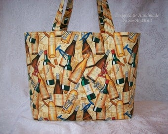 Quilted Wine Carrier, Designer Wine Tote, Handmade Market Bag, Shopping Bag, Bottle Carrier with Wine Bottle & Cork Screw Cotton Fabric