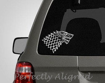 "Car Decal - 7"" Game of Thrones inspired Direwolf style 2 House Stark Crest Car Decal"