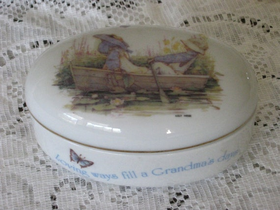 Vintage Holly Hobbie Trinket Dish with Lid for Grandma - Free Shipping to US