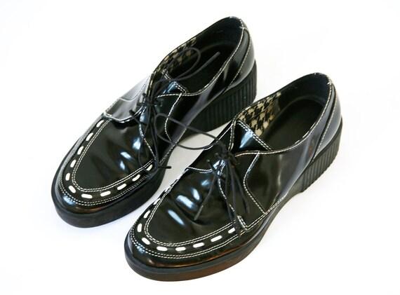 Platform Wedge Creepers Black & White Two Tone Trim Vintage 90s Esprit 8.5 US Womens