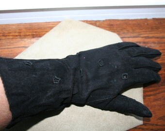 Black Thin Leather Driving Gloves Almost 3/4 Length