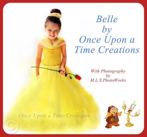 Beauty and the Beast Inspired Princess Tutu Dress - Birthday Outfit, Photo Prop, Halloween Costume - 12M 2T 3T 4T 5T - Disney Belle Inspired