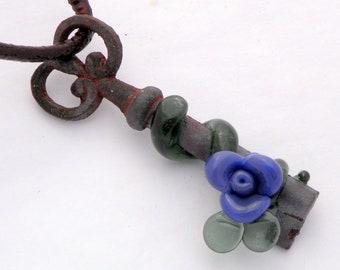 Skeleton Key Glass Rose Necklace Pendant Boro Flower Secret Garden Purple SRA