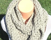 Chunky Khaki Tan Colored Infinity Scarf