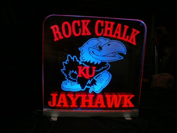 Rock chalk jayhawk man cave sign by logolighthouse on etsy
