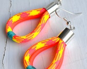 Neon Paracord Earrings with Teal Thread