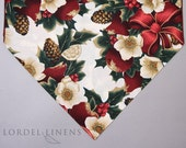 Burgundy and White Floral Christmas Small Table Runner