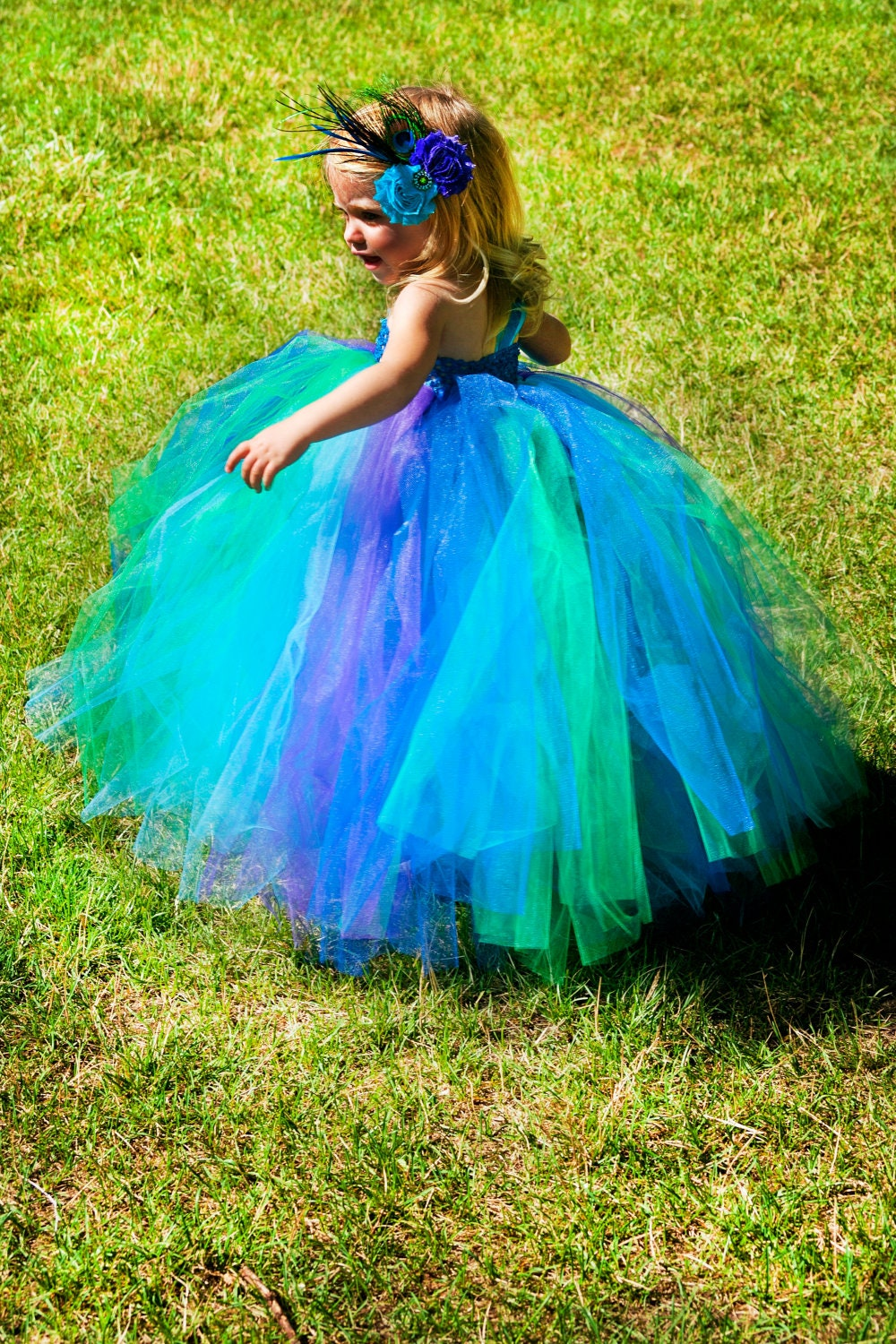 2T 3T 4T Childu0026#39;s Bright Peacock Tutu Dress By PinkPosieCouture