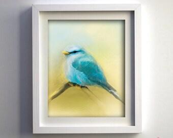 PRINT Hand Drawn Little Blue Bird Fine Art Print