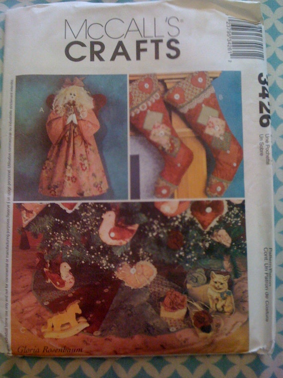 McCalls Crafts Sewing Patterns 3426 Christmas Stockings, Ornaments, Tree Skirt, and Angel