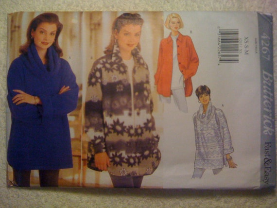 Butterick 90s Sewing Pattern 4267 Misses Fast and Easy Loose Fitting Top and Jacket Size XS, S, M