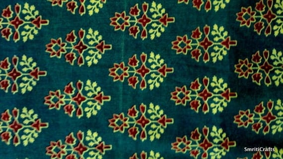 Indian fabric - cotton fabric - Pure cotton block print fabric - green yellow and red motif