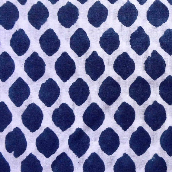 Reserved Listing - 1.5 Yard Cotton fabric - Indian fabric - white and blue cotton block print fabric