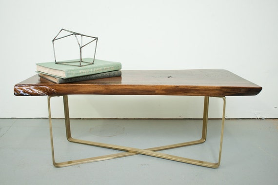 Coffee Table - Live Egde Walnut Slab w/Brass Base by Dylan Design Co.