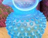 Fenton Hobnail Blue Vase, Vintage Hobnail, Vintage Perfect Hobnail, Blue Hobail Collectible, 1950s Vase