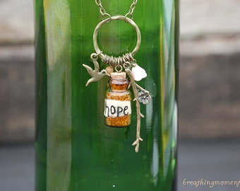 Orange Hope in a Bottle Necklace