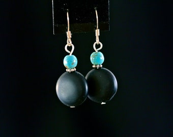 Bold Black and Turquoise-Toned Drop Earrings