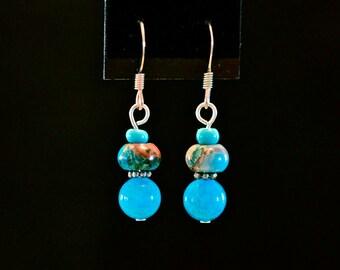Sky Blue Stacked Drop Earrings