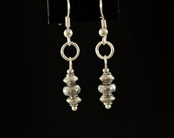Silver Stacked Drop Earrings