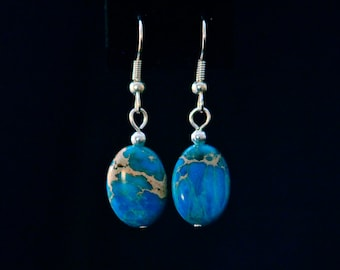 Blue Magnesite and Silver Drop Earrings