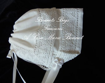 Heirloom Baby Bonnet Chapel Lace great gift for baby showers Christening and Dedications - Magic hanky bonnet