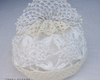 Women Ladies Flower Girls Irisch Lace crochet small Roll Purse Vintage Romantic Victorian Wedding Bridal Milk White Jewelry Gift Bag Mom