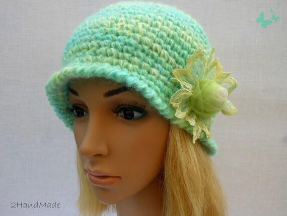 Chunky Crochet Womens Ladies Teens 192O Elegant Flapper Cloche beanie brimmed Hat Lime Green Yellow Mohair Angora Wool Vintage Style