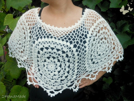 Lace Crochet Motifs Capelet Ivory Weddings Kid Mohair Angora Wool Shawl Wrap Women Ladys Bridal Bridesmaid Vintage Style