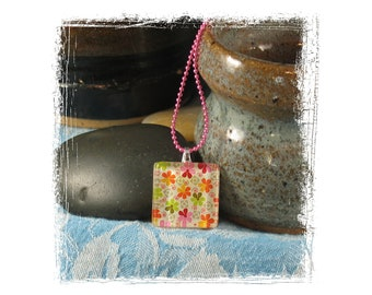 Necklace - Bright and Cheery Flowers Glass Tile