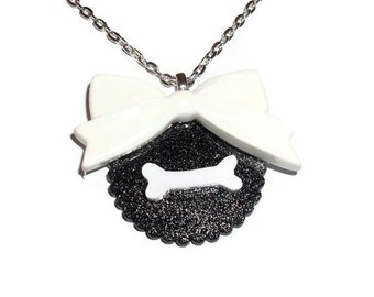 Creepy Bone Necklace, Kawaii White Bow Black Glitter Necklace