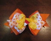 Halloween Candy Corn Bow --READY TO SHIP---will ship day after payment clears