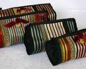 Make Up Bag - Pencil Case - Burgundy White Gold - Middle Eastern Fabric Under 25 Handmade