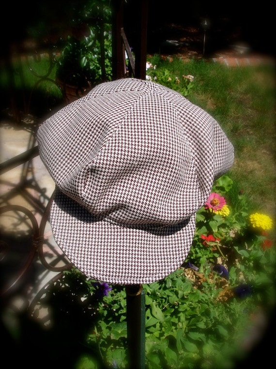 Checkered brown and tan Newsboy hat, boy hat, beret for boys