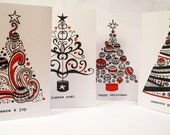 Set of 4 - A6 blank Christmas tree motif Christmas cards - hand drawn - red and black