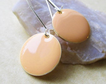 Dangle Drop Earrings - Pastel Peach Epoxy Enamel Circle Discs - Sterling Silver Plated over Brass (F-3)