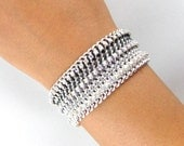 50 Shades of Grey Edition - Ombre Crystal Twister - Designer Friendship Bracelet with Chains, Thread & Crystals - Made To Order