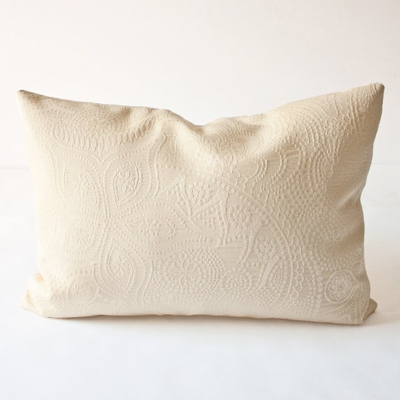 Crystal Stitch Decorative Lumbar Pillow Cover - neutral subtle elegant romantic classic sophisticated floral dots cream beige pillow 14 x 20