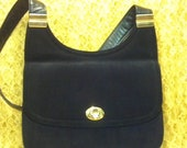Susan Gail Purse Made in Italy Black Leather Purse Vintage Shoulder Bag crossbody strap 12 inches retro chic