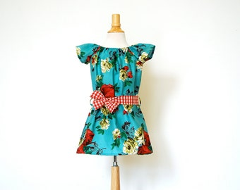 Girls Peasant Dress with Sash / Vintage Style Fabric / Teal, Cream, and Roses / 6m - 3T
