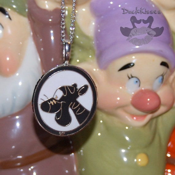 """Tigger Winnie the Pooh's Friend Silhouette Disney Pin Re-purposed into Necklace with 17"""" Chain"""