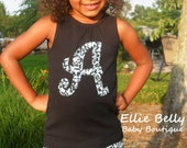 Girls Black Initial Tee or Tank in Classic Black and White Demask Print