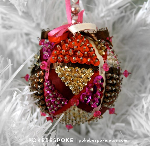 Pink and Red Multicolored Mosaic Beaded Ornament