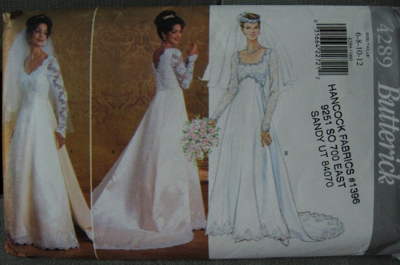 Butterick 4289 sewing pattern bridal wedding gown dress Butterick wedding dress patterns
