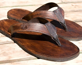 "Leather Flip Flops sandals ""SURFER"""
