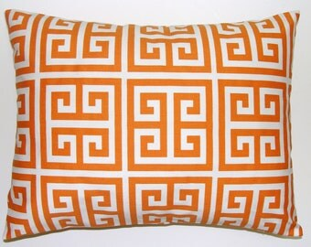 ORANGE PILLOW SALE.12x18 or 12x16 inch Decorative.Lumbar Pillow Cover.Home Decor.Housewares.Greek Key.Lumbar.Rectangular.Cushion.Tangerine